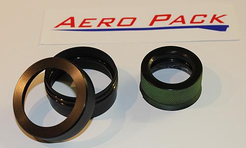 Système de rétention filetés produit par AeroPack. A gauche 38mm et a droite 29mm.