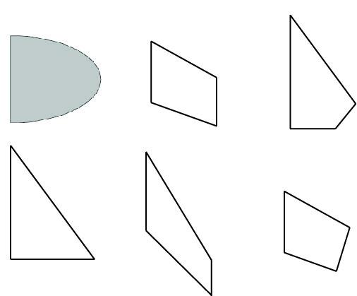 Quelques examples de formes d'ailettes